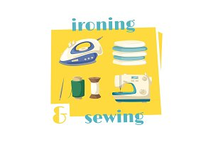 Ironing and sewing household chores cartoon icon