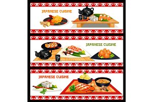 Japanese seafood dishes banner set menu design