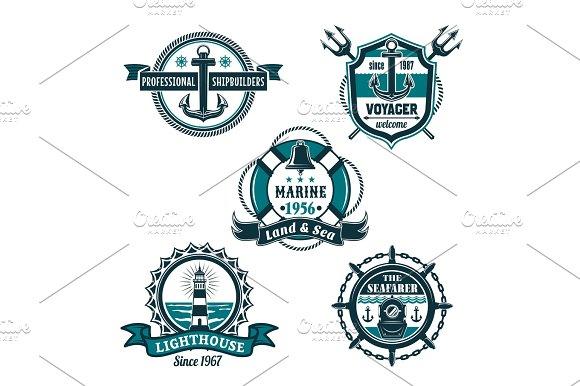 Nautical Retro Badge Set Marine Heraldry Design