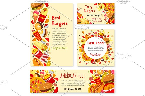 Fast food restaurant banner and poster template