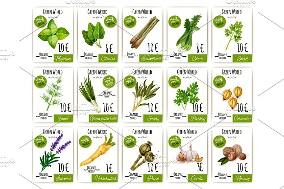 Herb and spices tag or price label set design