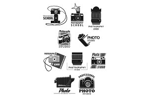 Photography studio icon set with photo camera