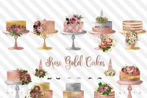 Rose Gold Cakes Clipart