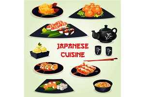 Japanese cuisine dinner with dessert cartoon icon