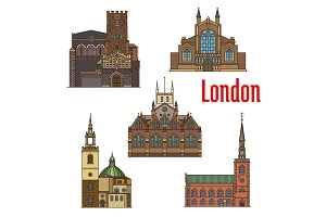 London travel landmark of british church icon set