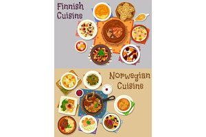 Finnish and norwegian cuisine dinner icon set
