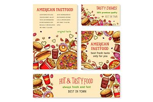 Fast food banner and poster template set design