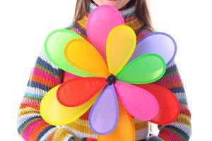 Girl with colorfull pinwheel