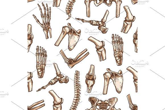 Human Skeleton Bone Seamless Pattern Background