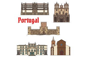 Travel sight of portuguese architecture icon set