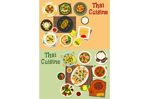 Thai cuisine icon set for tasty asian food design