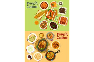 French cuisine dinner icon set for menu design