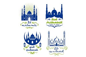 Ramadan Kareem greetings isolated icon set design