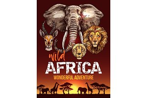 African safari poster with wild animals sketches