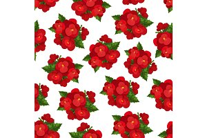 Red flower with leaf floral seamless pattern