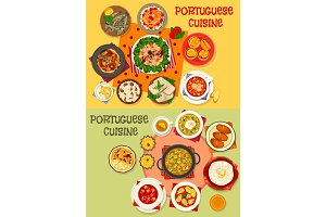 Portuguese cuisine seafood dinner menu icon set