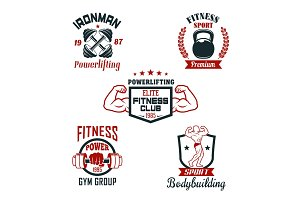 Fitness sport club, gym and bodybuilding badge set