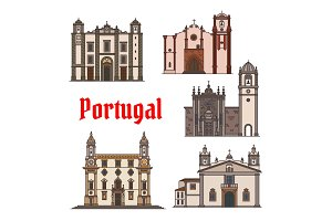 Portuguese travel landmark icon for travel design