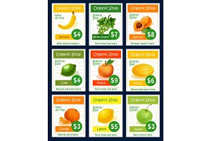 Fruit tag and label set for organic shop design