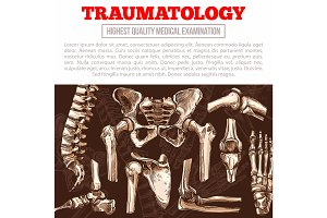 Traumatology medicine poster with bone and joint