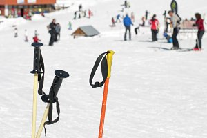Ski gloves and sticks. Winter touris