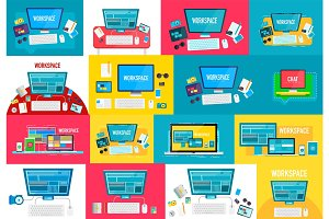 Collection of vector workspace concepts, modern flat style design