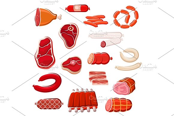 Fresh Meat And Sausage Icon Set For Food Design