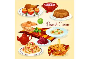 Danish cuisine healthy lunch dishes cartoon icon