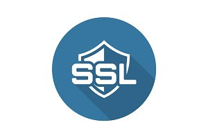 SSL Protection Icon. Flat Design.