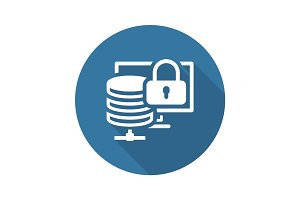 Secure Storage Icon. Flat Design.