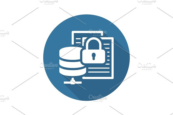 Secure File Storage Icon Flat Design Ilrations