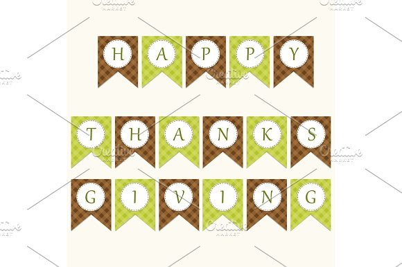 Cute Thanksgiving bunting flags with letters in traditional colors