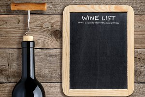 Wine list on blackboard