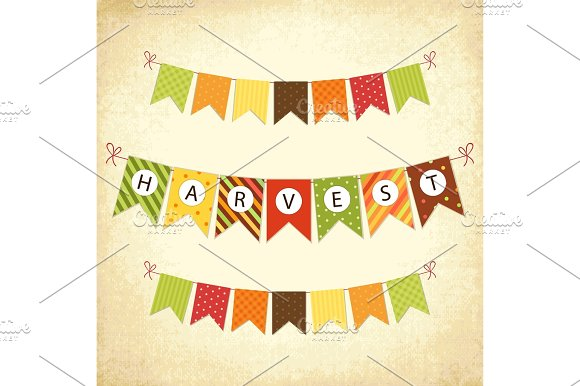 Cute Autumn Bunting Flags With Letters In Traditional Colors