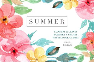 Summer Watercolor Flowers Clipart