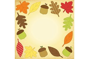 Cute autumn frame with leaves as retro fabric applique