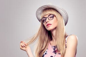 Fashion Blond Girl, Stylish glasses. Summer Outfit