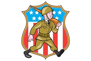 World War Two Soldier American Carto
