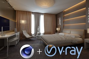 Hotel Room interior design for C4D