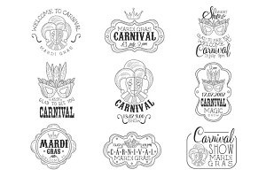Set Of Hand Drawn Monochrome Mardi Gras Event Promotion Signs In Pencil Sketch Style With Calligraphic Text And Detailed Vintage Frames