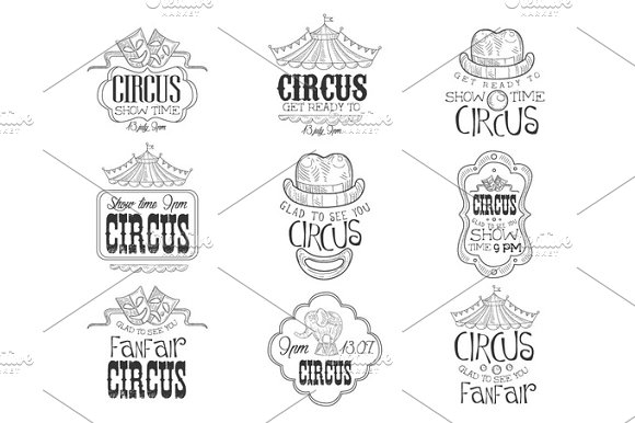 Set Of Hand Drawn Monochrome Circus Show Promotion Signs In Pencil Sketch Style With Calligraphic Text And Detailed Vintage Frames