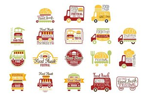 Food Truck Cafe Street Promo Signs Collection Of Colorful Vector Design Templates With Vehicle Silhouette