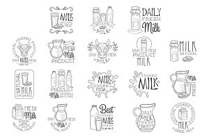 Best Organic Milk Product Set Of Hand Drawn Black And White Sign Design Templates With Calligraphic Text