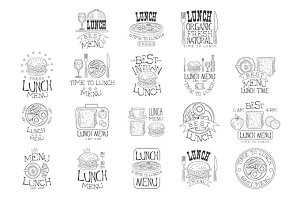 Best In Town Organic Lunch Menu Set Of Hand Drawn Black And White Sign Design Templates With Calligraphic Text
