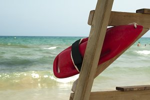 Red buoy for a lifeguard to save peo
