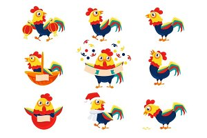 Rooster Cartoon Character Set With A Cock Representing Chinese Zodiac Symbol Of New Year 2017