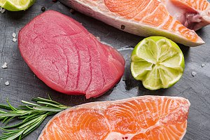 Raw tuna and salmon steak