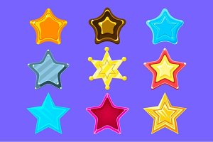 Five-Point Colorful Cartoon Star Collection For Flash Video Game Rewards , Bonuses And Stickers
