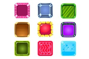 Colorful Gems Flash Game Element Templates Design Set With Square Candy For Three In The Row Type Of Video