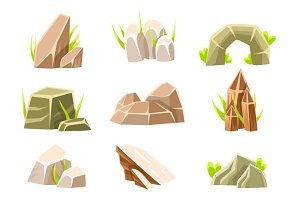 Natural Brow Rocks Of Different Shape Collection Landscape Design Elements For Flash Game